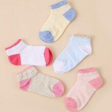 5pairs Toddler Girls Color Block Socks