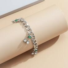 Rhinestone Decor Cherry Charm Bracelet