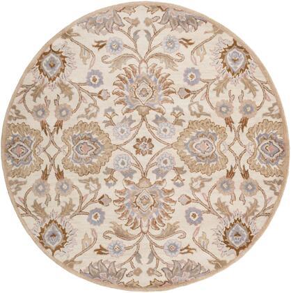 Caesar CAE-1109 4' Round Traditional Rug in Cream  Camel  Taupe  Denim  Medium Grey