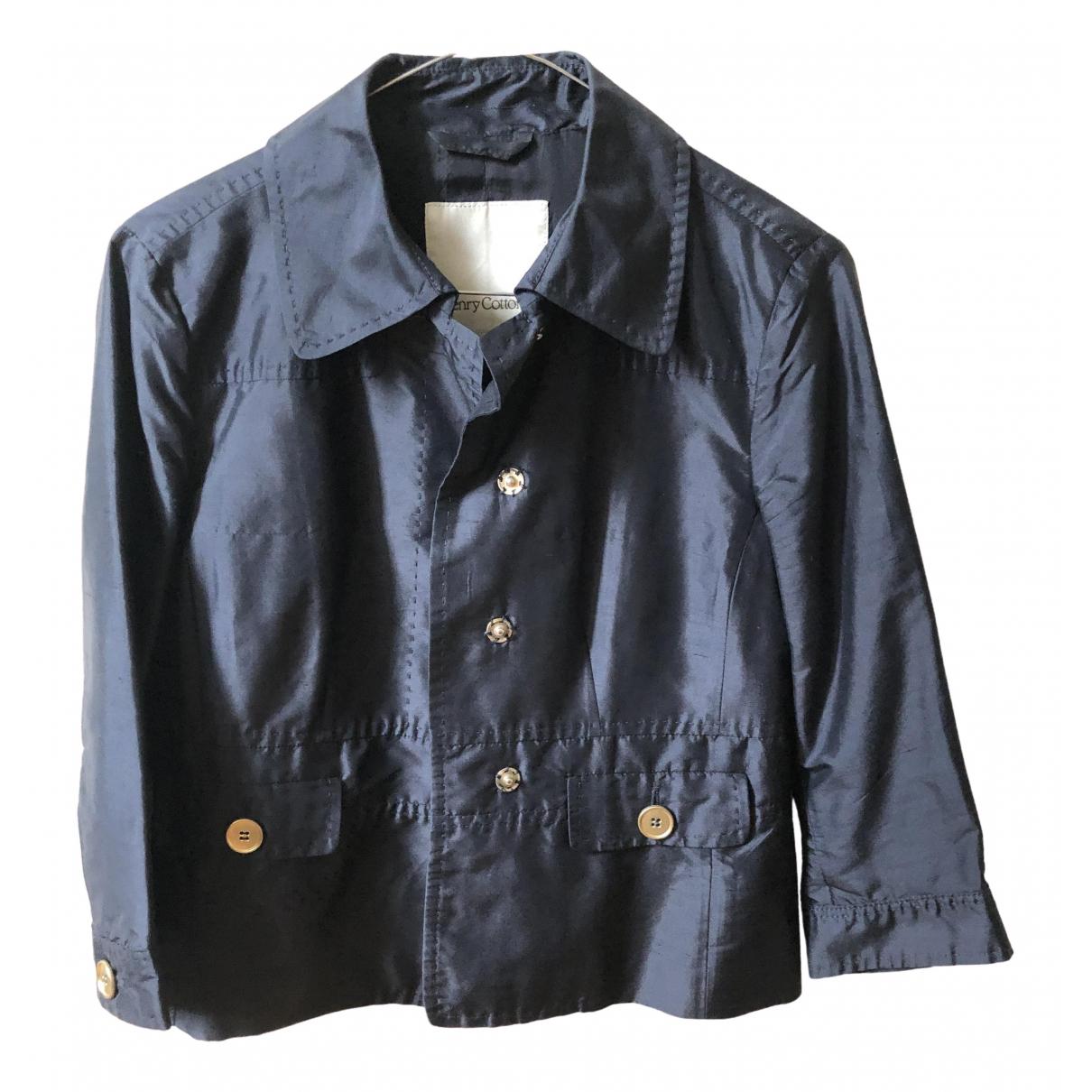 Henry Cotton \N Blue Silk jacket for Women 42 IT