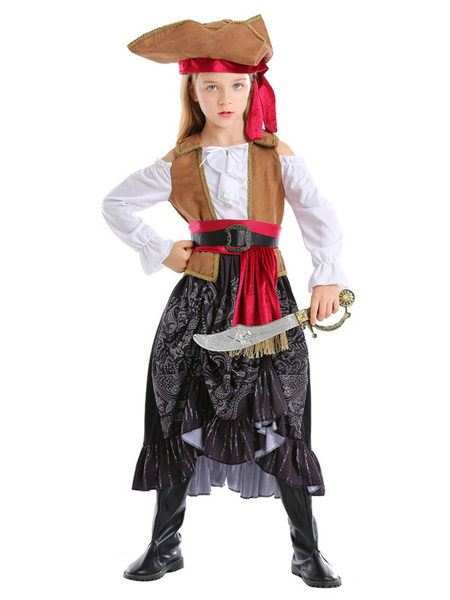 Milanoo Halloween Pirate Costumes Kid Dress Hat Sash Outfit