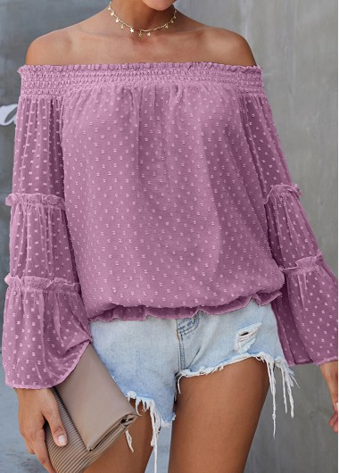 Off the Shoulder Flare Sleeve Purple Blouse - XL