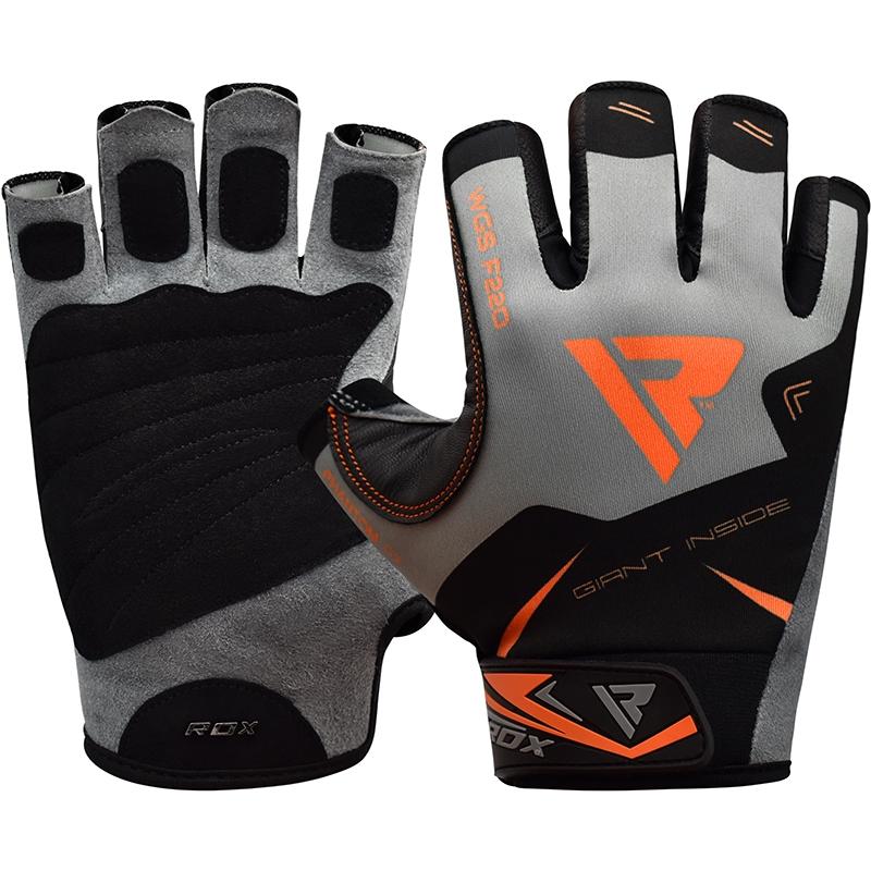 RDX F22 Gants de Musculation Grande Orange Lycra