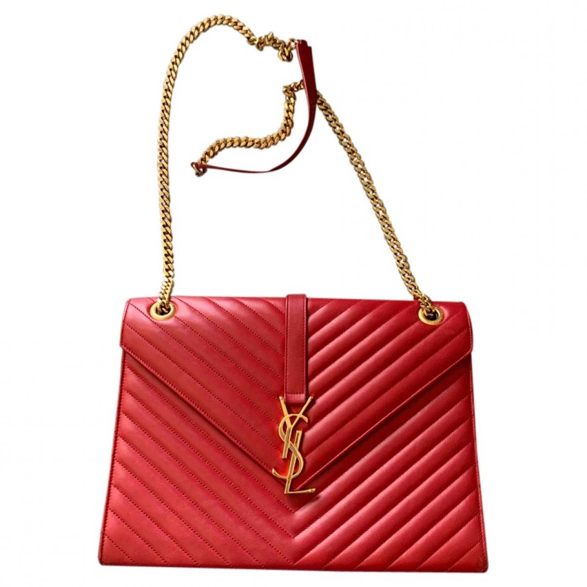 Saint Laurent - Sac a main Satchel monogramme pour femme en cuir - rouge