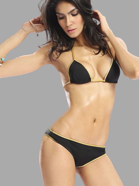 Yoins Triangle Halter Contrast Colour Bikini Set without Brassiere