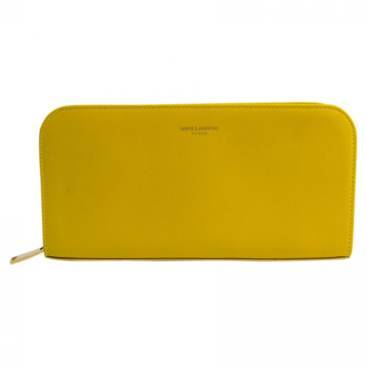 Saint Laurent - Portefeuille   pour femme en cuir - jaune