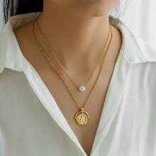 Mehrschichtige Halskette mit Konstellation Dekor