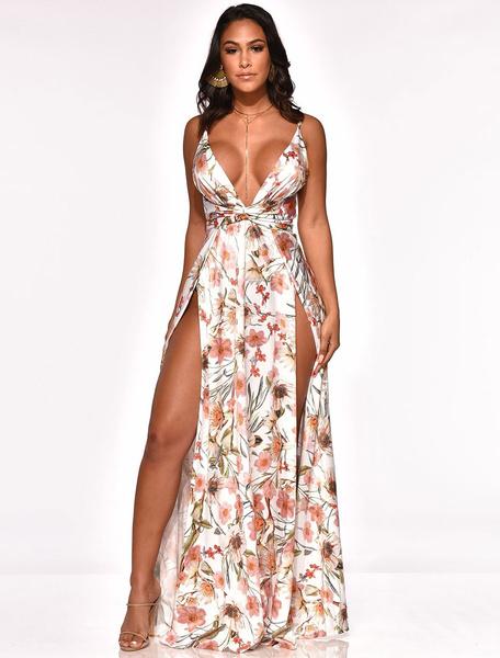 Milanoo Club Dress For Woman Straps Neck Sleeveless Milk Silk Floral Print Split Summer Sexy Club Dress