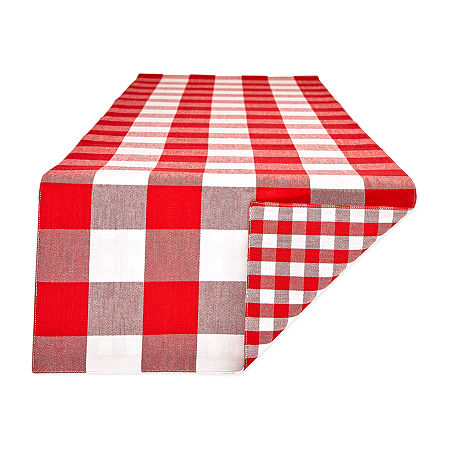 Design Imports Gingham Buffalo Check Table Runner, One Size , Red