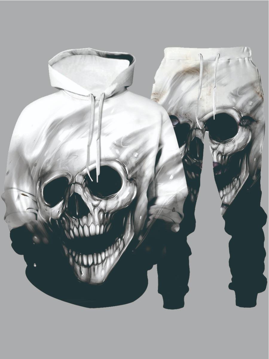 LW lovely Street Hooded Collar Skull Print Black Men Two-piece Pants Set
