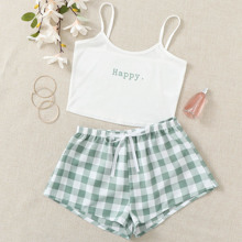 Letter And Gingham Tie Front Cami PJ Set