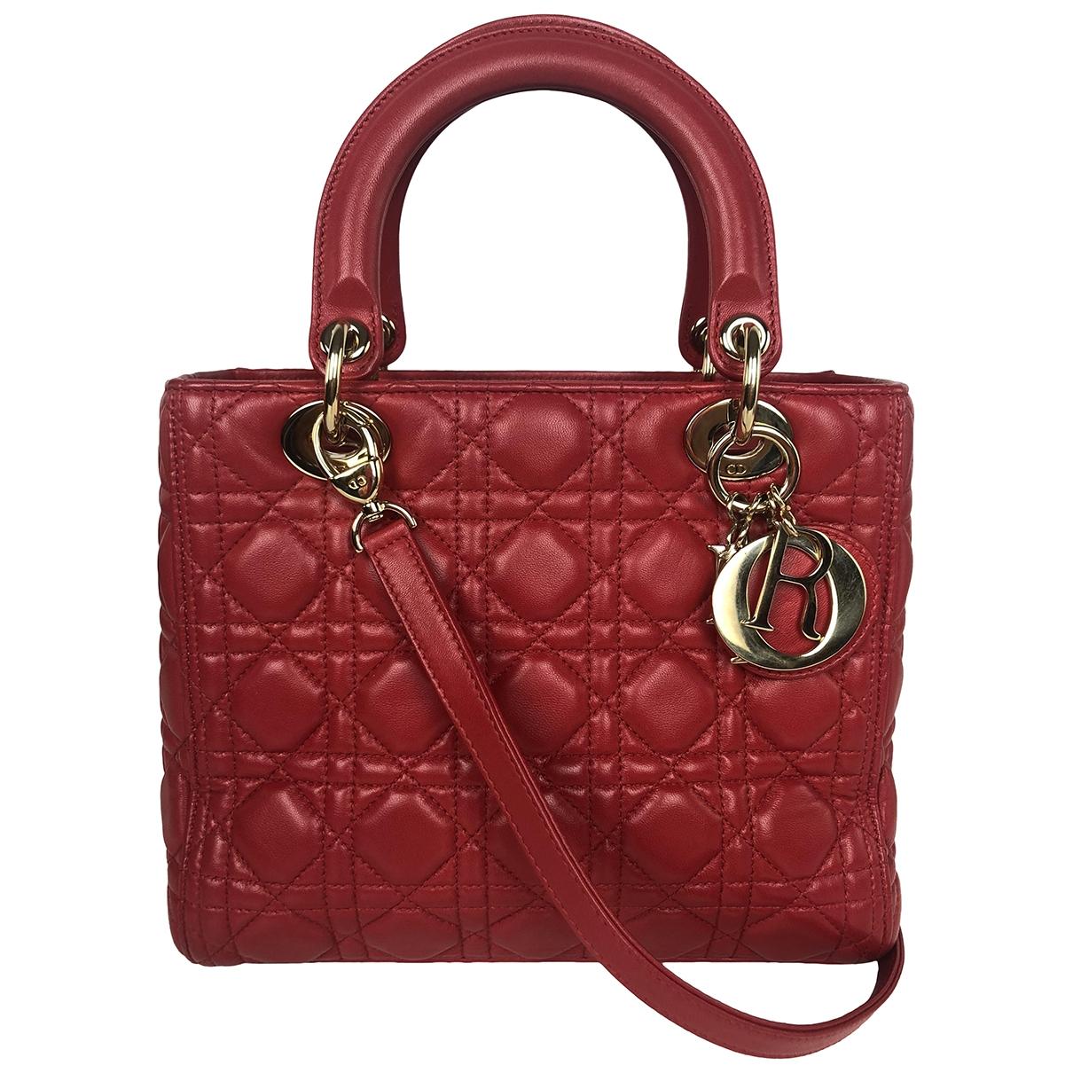 Dior - Sac a main Lady Dior pour femme en cuir - rouge