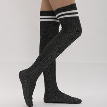 Color Block Over The Knee Socks
