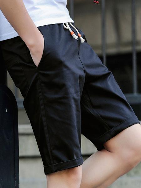 Milanoo Men Casual Shorts Solid Color Cotton Shorts Drawstring Navy Blue Capri Shorts