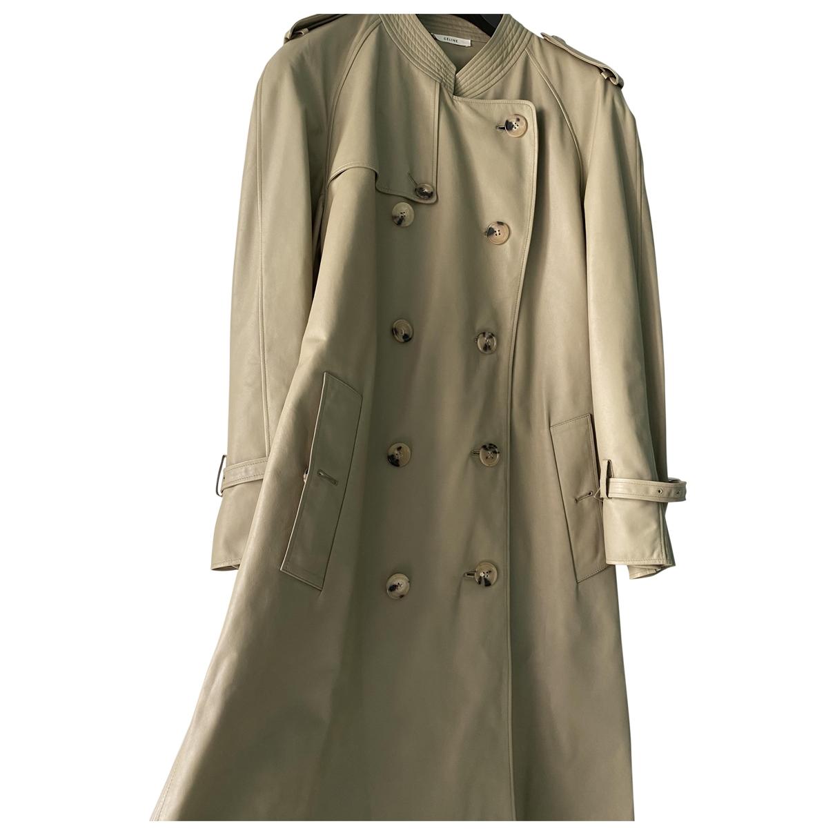 Celine \N Grey Leather coat for Women 34 FR