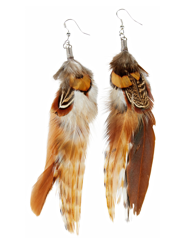 Kostuemzubehor Ohrringe mit Federn braun