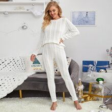 Cable Knit Solid Lounge Set