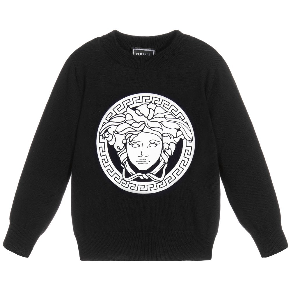 Versace Young Versace Emblem Logo Sweatshirt Colour: BLACK, Size: 10 YEARS