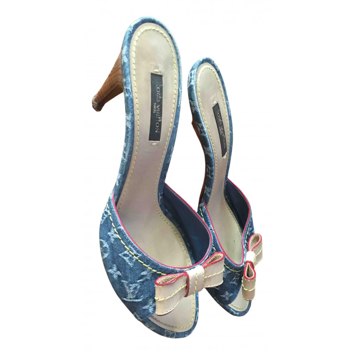 Louis Vuitton N Blue Cloth Sandals for Women 38 EU