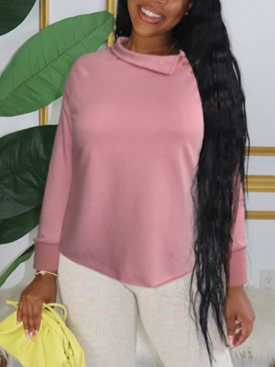 LW Lovely Casual Turndown Collar Asymmetrical Pink Hoodie