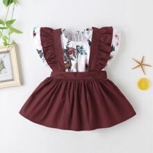 Baby Girl Floral Print Bodysuit With Pinafore Skirt