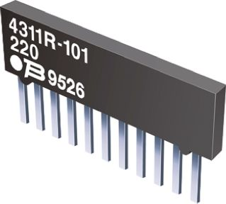 Bourns Isolated Resistor Network ±2% 4 Resistors, 1W Total, SIP package 4300R Through Hole (5)