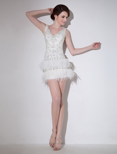 Milanoo Great Ivory Sheath V-Neck Beading Tulle Wedding Dress For Bride