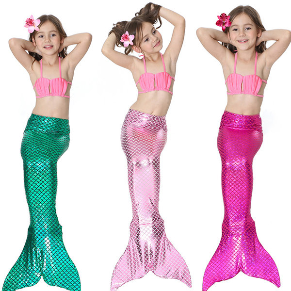 3Pcs Mermaid Swimsuit with Tail Swimwear Bathing Suit Costume For Girls 4Y-13Y