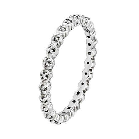 Personally Stackable Sterling Silver Diamond-Accent Ring, 8 , No Color Family