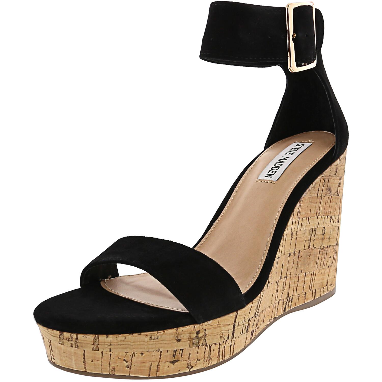 Steve Madden Women's Visible Suede Black Ankle-High Wedged Sandal - 9.5M