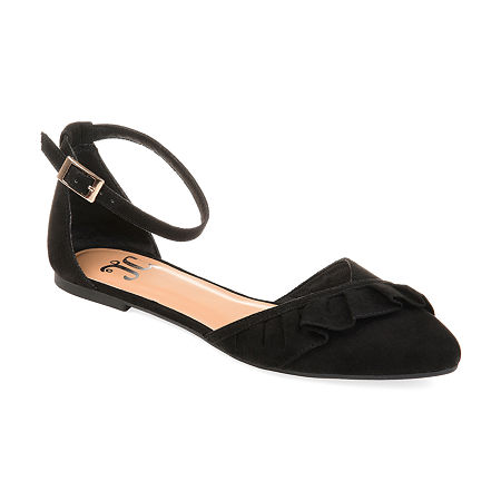 Journee Collection Womens Lazae Buckle Pointed Toe Ballet Flats, 9 Medium, Black