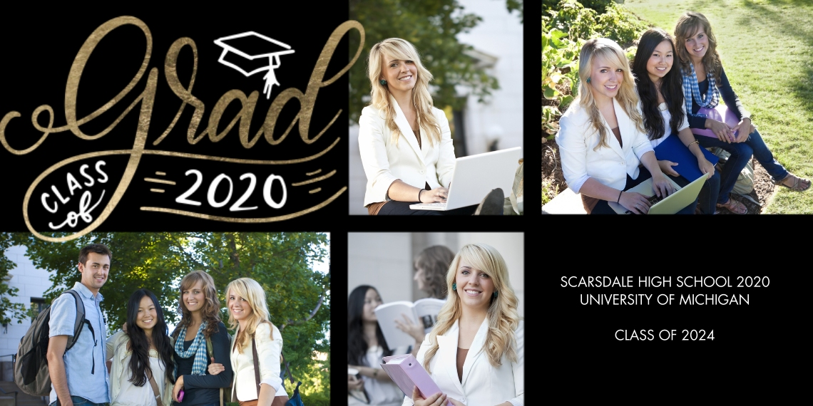 2020 Graduation Announcements Flat Glossy Photo Paper Cards with Envelopes, 4x8, Card & Stationery -Grad 2020 Cap Memories by Tumbalina