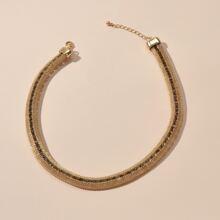 Rhinestone Decor Metal Necklace