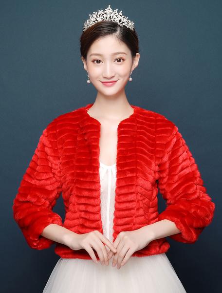 Milanoo Chaqueta de boda abrigo de piel sintetica chal rojo invierno nupcial cubierta ups