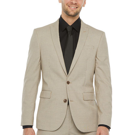 JF J.Ferrar Ultra Comfort Tan Houndstooth Stretch Super Slim Fit Suit Jacket, 42 Regular, Beige