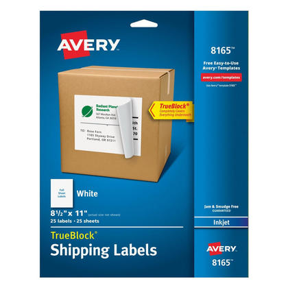 Avery® TrueBlock® White Mailing Labels for Ink Jet Printers - 8-1/2 x 11 (25)