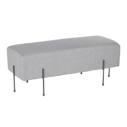 BC-DNLA BKGY Daniella Contemporary Bench in Black Metal and Grey