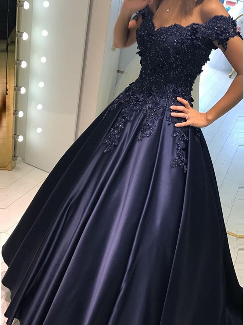 Ericdress Appliques Beading Off-The-Shoulder Evening Dress