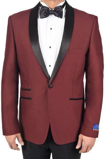 Mens Burgundy 1Button 1Breasted Tuxedo Viscose Blend Dinner Jacket