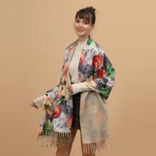 Schal mit Fransen und Blumen Muster