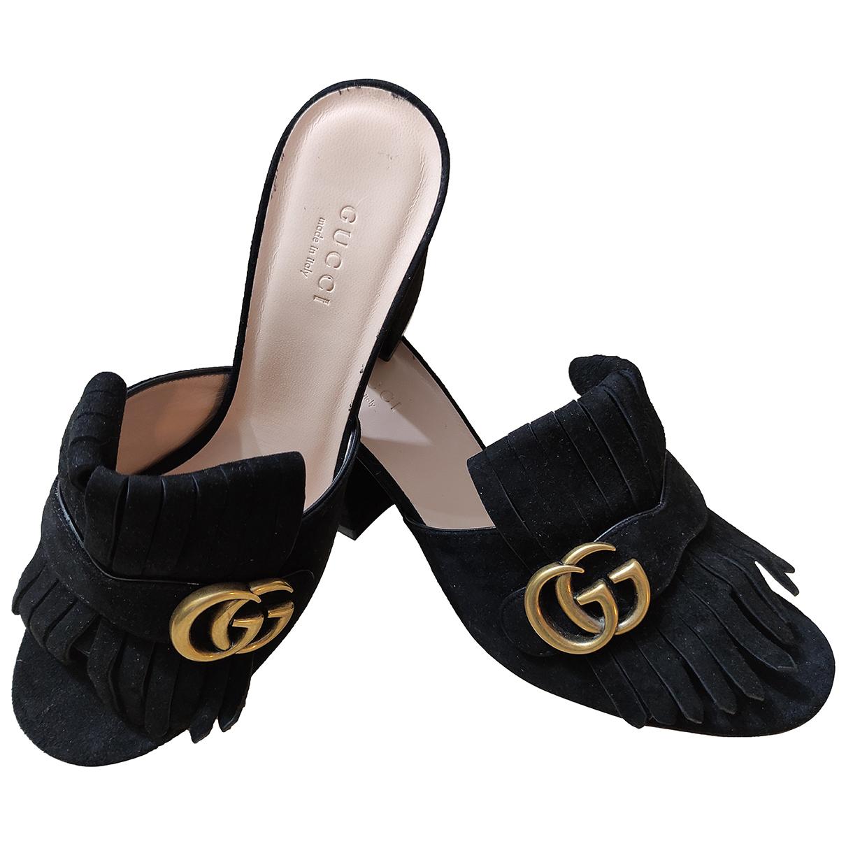 Gucci - Sandales Marmont pour femme en suede - noir