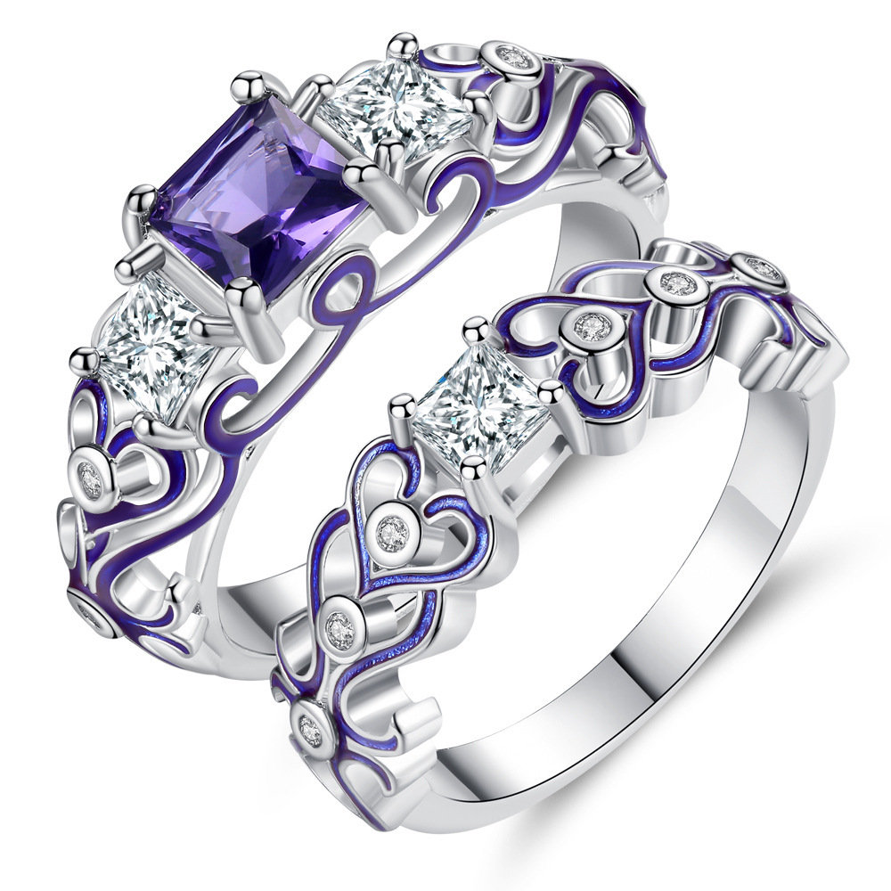 Fashion 2 Pieces of Rings Decorative Pattern Hollow Heart Zircon Ring Jewelry Accessories for Women
