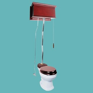 Cherry High Tank Z-Pipe Toilet Round White Bowl (Renovators Supply)