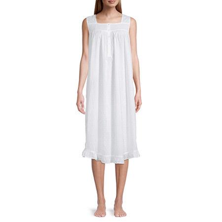 Adonna Womens Poplin Sleeveless Nightgown, X-large , White