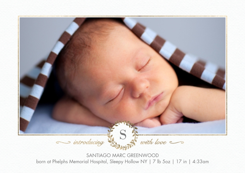 Baby Announcements Flat Matte Photo Paper Cards with Envelopes, 5x7, Card & Stationery -Baby Monogram Gold by Tumbalina