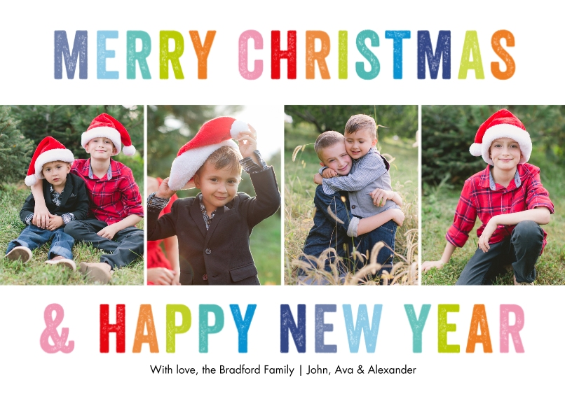 Christmas Photo Cards 5x7 Cards, Premium Cardstock 120lb, Card & Stationery -Christmas New Year Block Letters by Tumbalina
