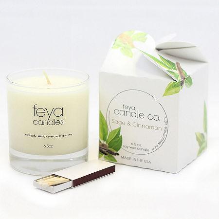 Feya Candle 6.5oz Sage & Cinnamon Soy Candle, One Size , White