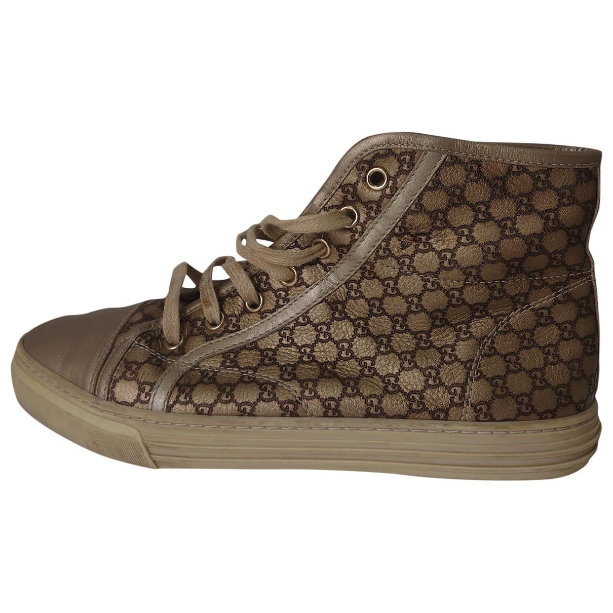 Gucci - Baskets   pour femme en cuir - beige