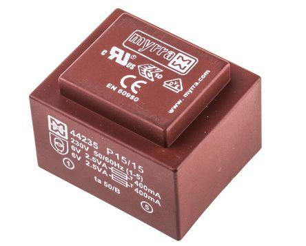 Myrra 6V ac 2 Output Through Hole PCB Transformer, 5VA