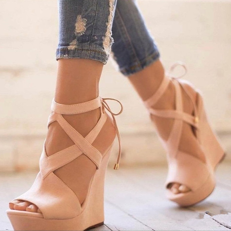Ericdress Open Toe Lace-Up Platform Wedge Sandals
